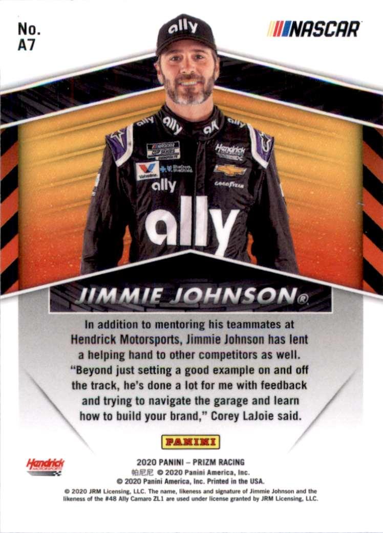2020 Panini Prizm Apex Jimmie Johnson #A7 card back image