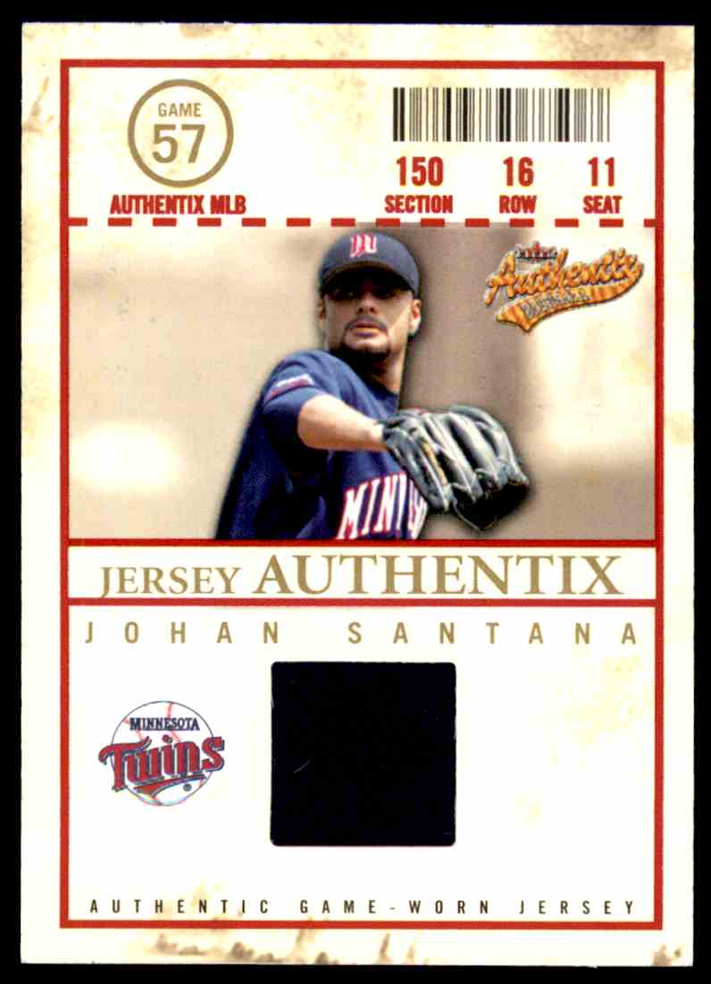 2005 Fleer Authentix Jersey Johan Santana #JS card front image