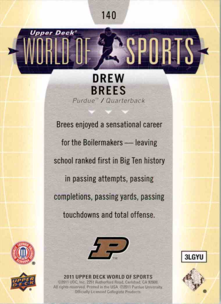 2011 Upper Deck World Of Sports Drew Brees #140 card back image