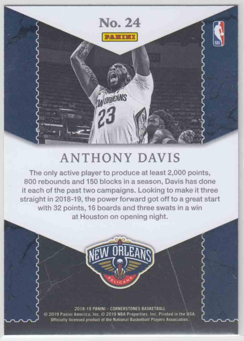 2018-19 Panini Cornerstones Unbreakables Anthony Davis #24 card back image