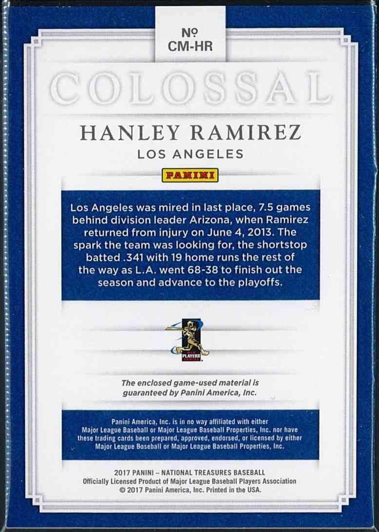 2017 Panini National Treasures Colossal Hanley Ramirez 5/5 Ebay 1/1 #CM-HR card back image