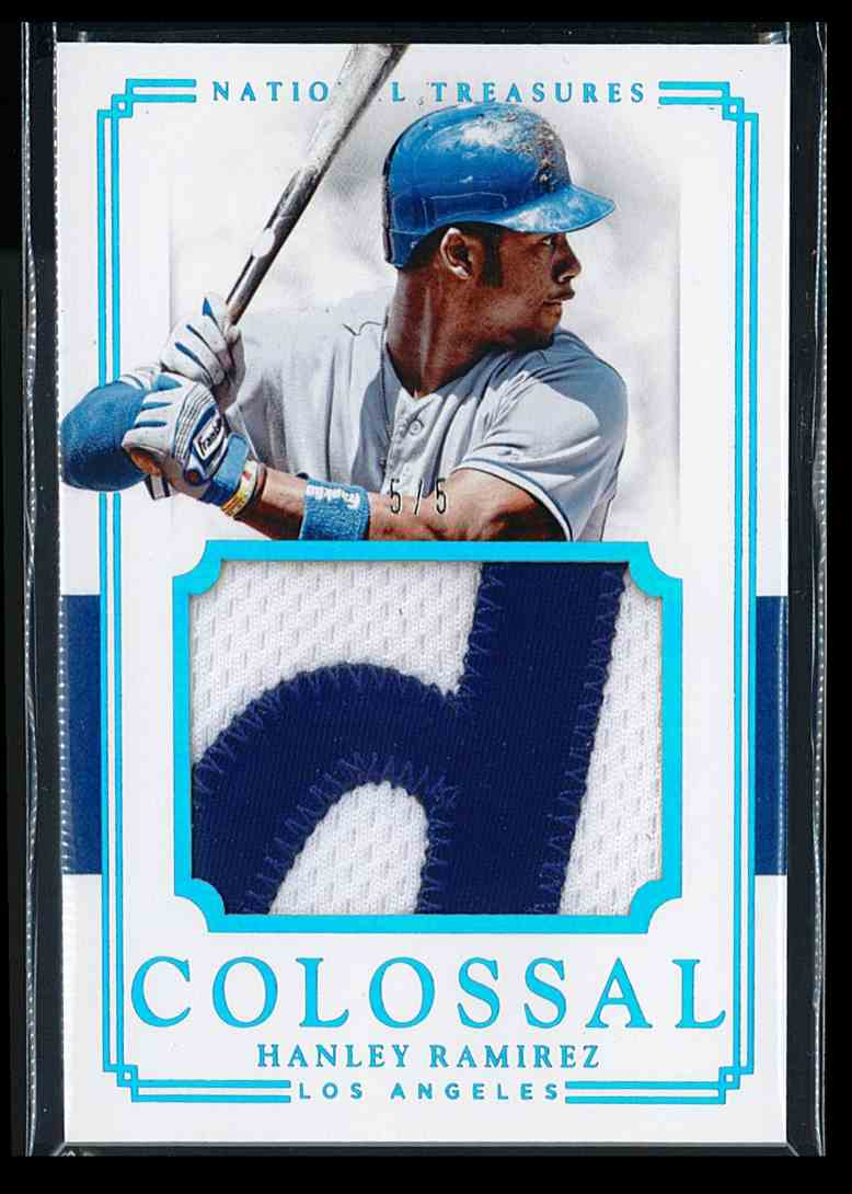 2017 Panini National Treasures Colossal Hanley Ramirez 5/5 Ebay 1/1 #CM-HR card front image