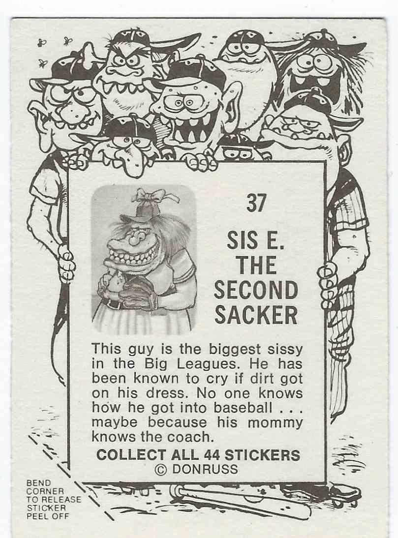 1973 Donruss Baseball Super Freaks Sis E. The Second Sacker #37 card back image