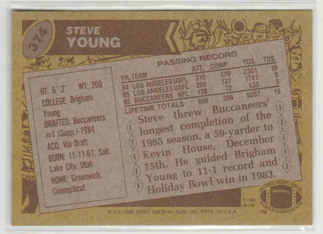 1986 Topps Steve Young #374 card back image