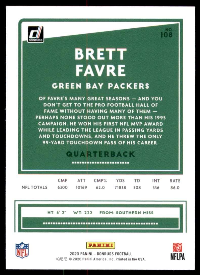 2020 Donruss Brett Favre #108 card back image