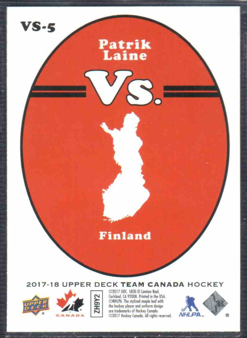 2017-18 Upper Deck Team Canada Canadian Tire Vs. Patrik Laine #VS-5 card back image