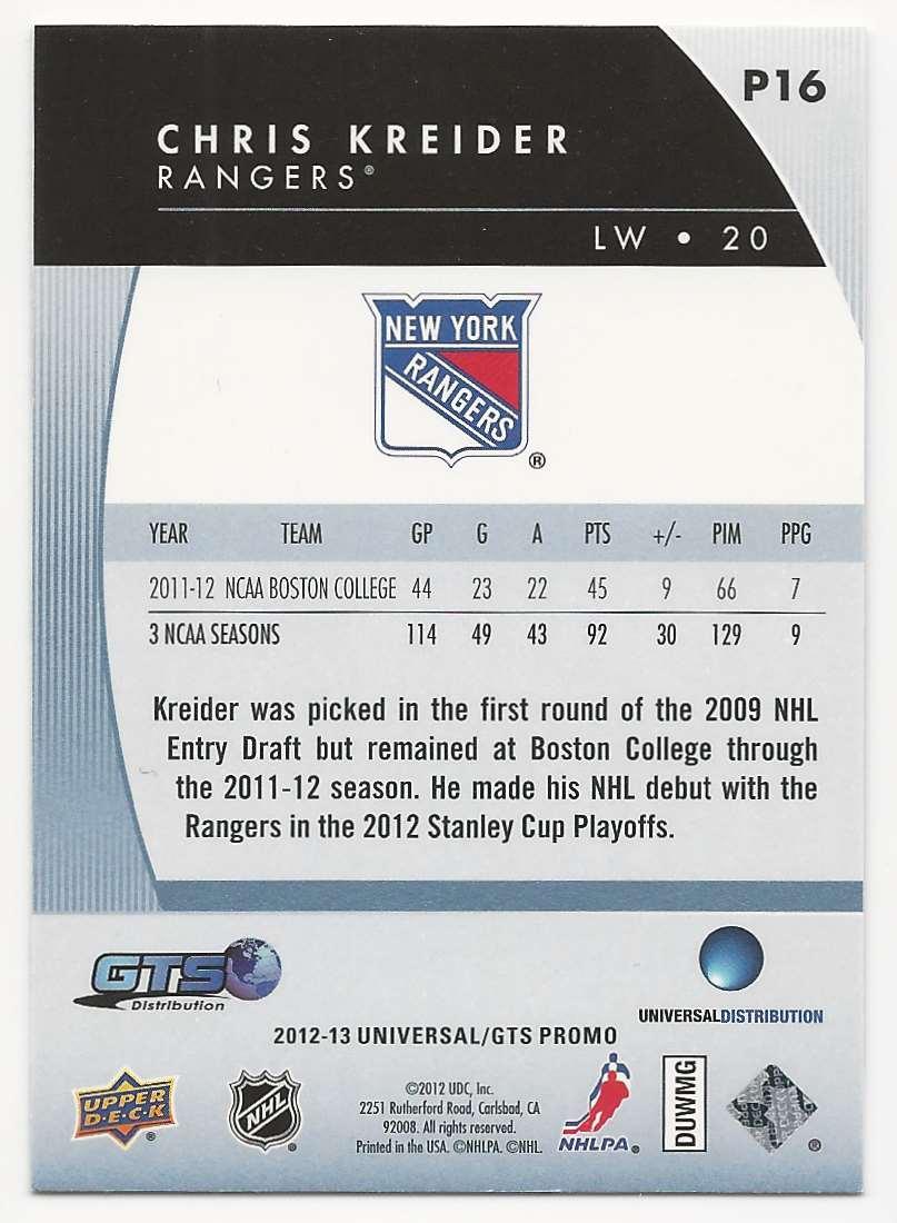 2012-13 Upper Deck Distributor Promos Chris Kreider #P16 card back image