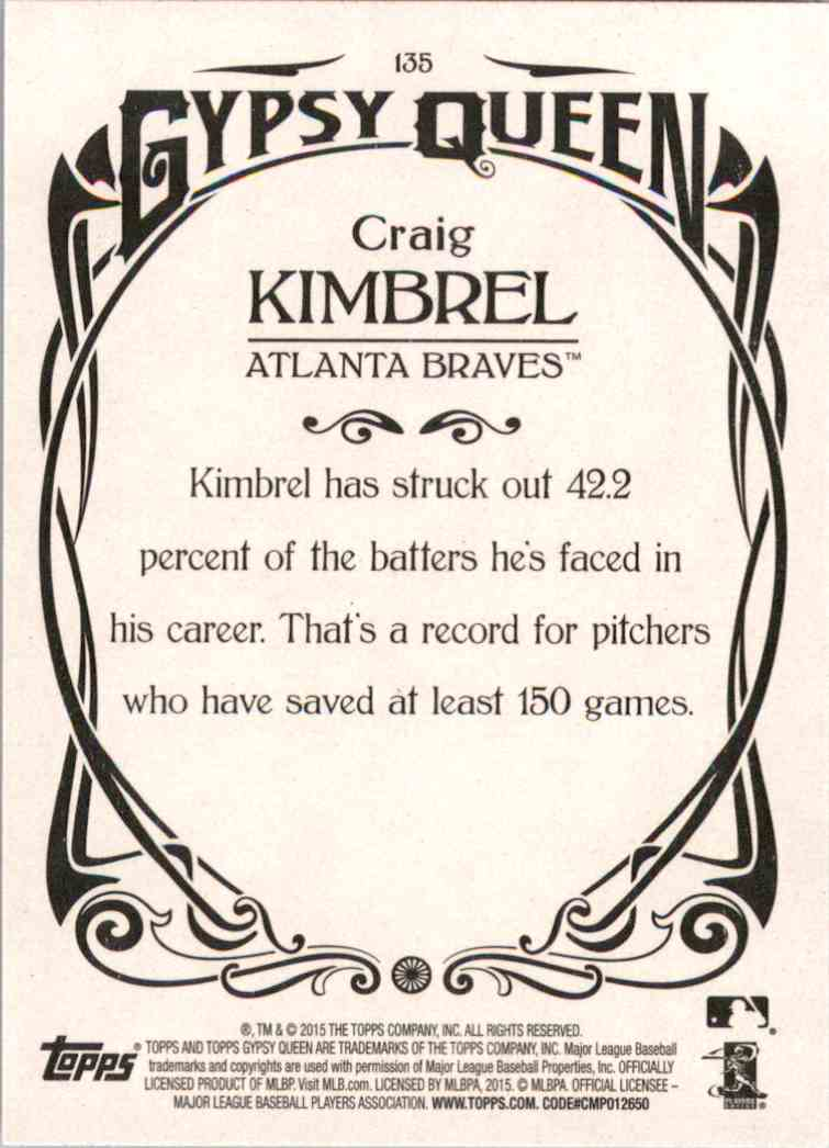 2015 Topps Gypsy Queen Craig Kimbrel #135 card back image
