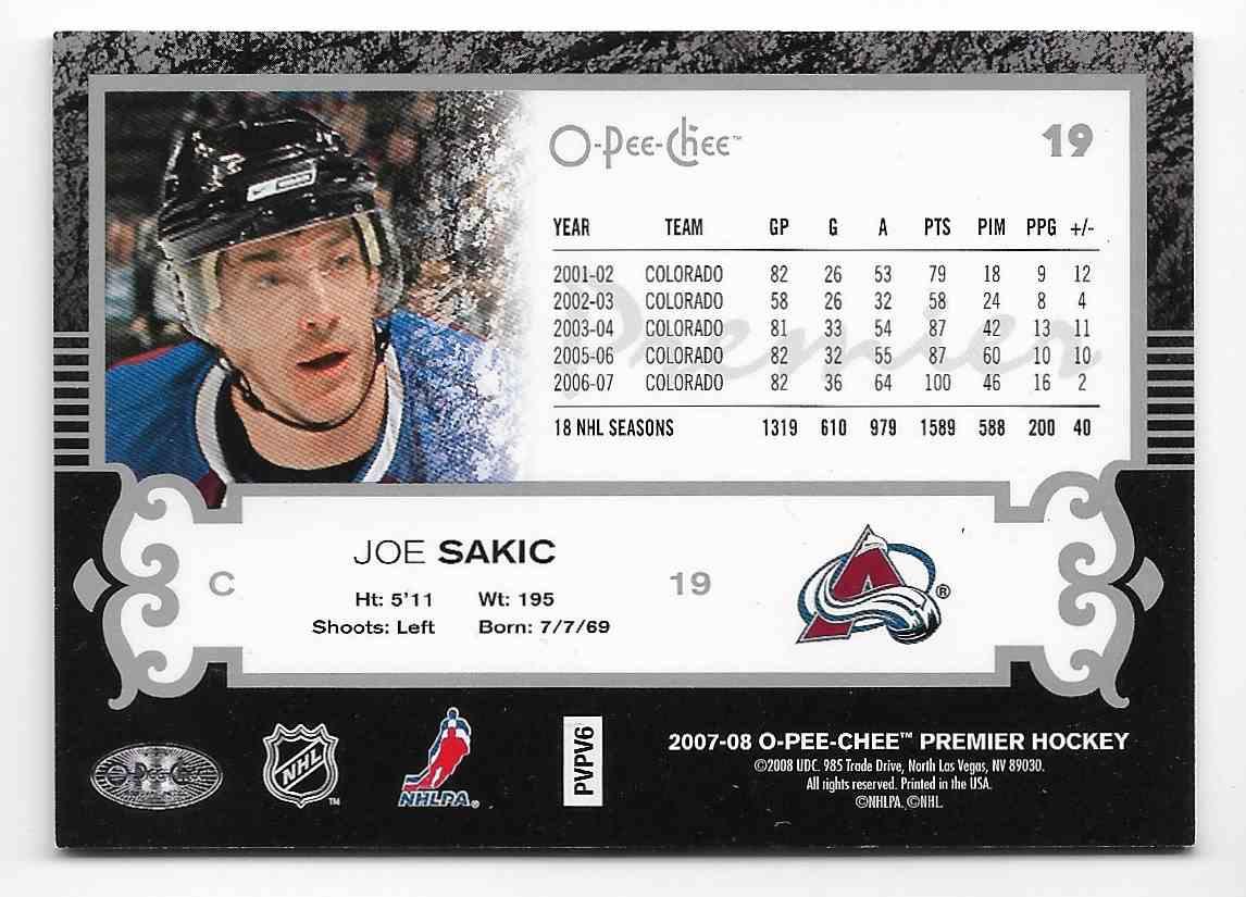 2007-08 O-Pee-Chee Premier Joe Sakic #19 card back image