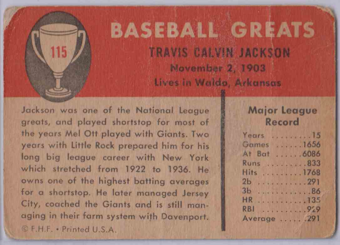 1961 Fleer Travis Jackson #115 card back image