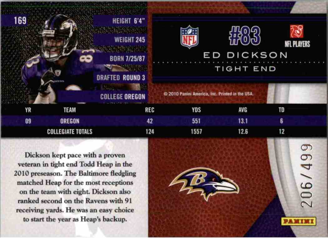 2010 Leaf Limited Phenoms Ed Dickson #169 card back image