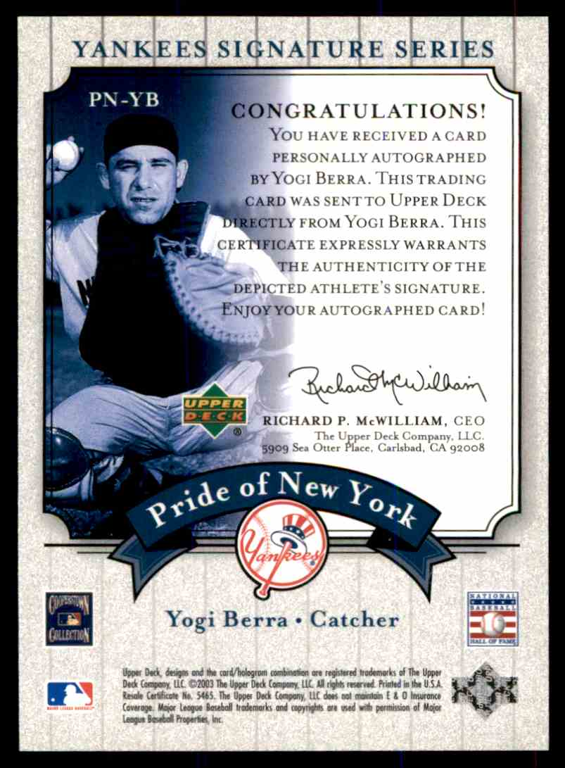2003 Upper Deck Yankees Siganture Series Yogi Berra card back image