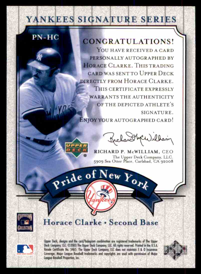 2003 Upper Deck Yankees Siganture Series Horace Clarke card back image