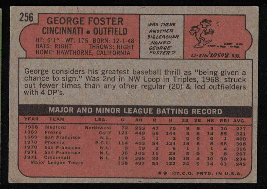 1972 Topps George Foster EX-MT #256 card back image