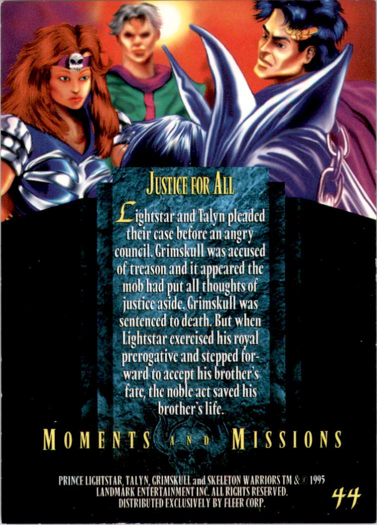 1995 Skeleton Warriors Ultra Justice For All #44 card back image
