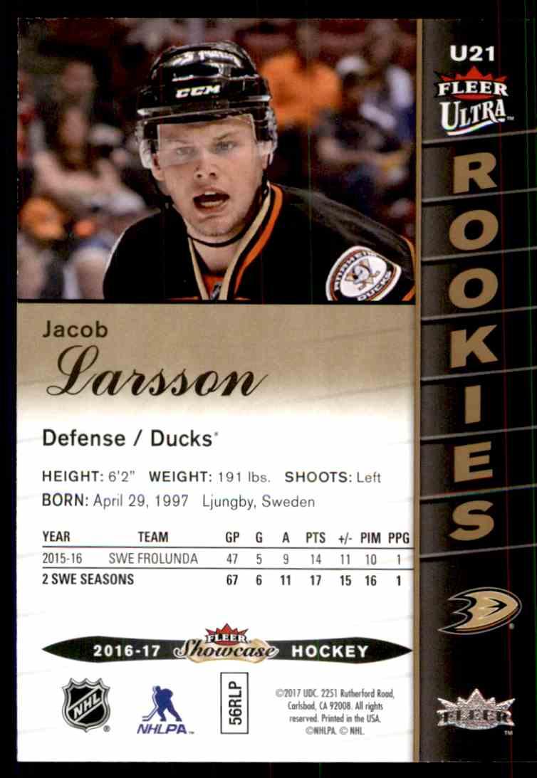 2016-17 Fleer Showcase Ultra Rookies Jacob Larsson #U21 card back image