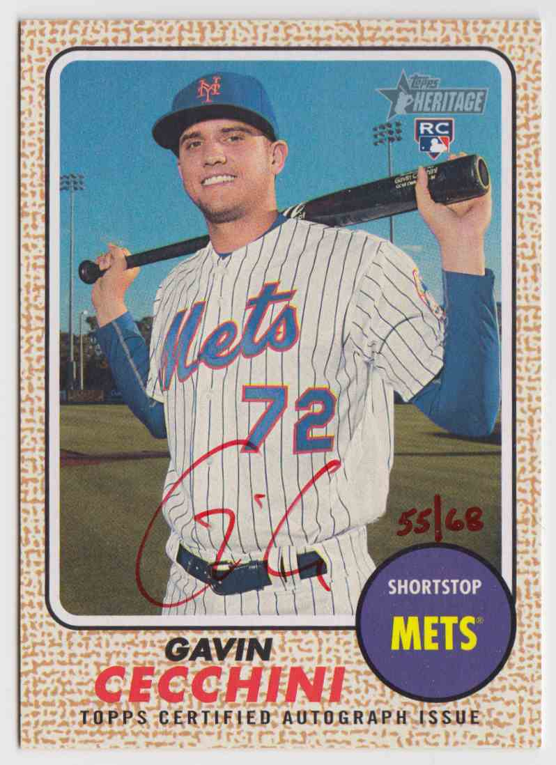 2017 Topps Heritage High Real One Red Ink Gavin Cecchini #ROA-GC card front image