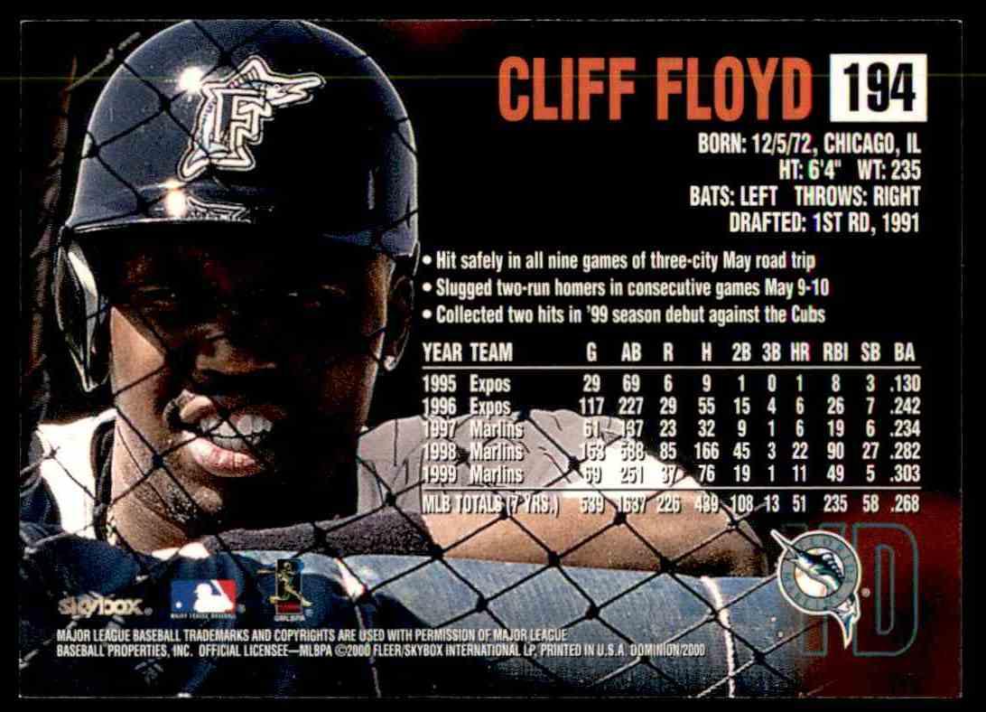 2000 SkyBox Dominion Cliff Floyd #194 card back image