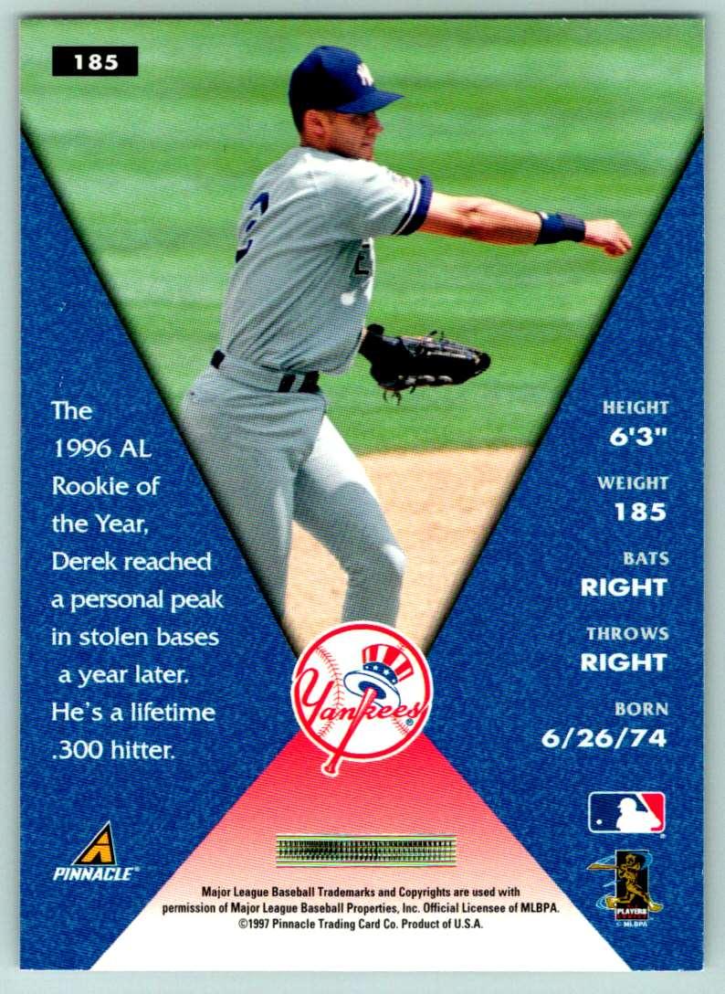 1997 Pinnacle Field Of Vision Derek Jeter #185 card back image
