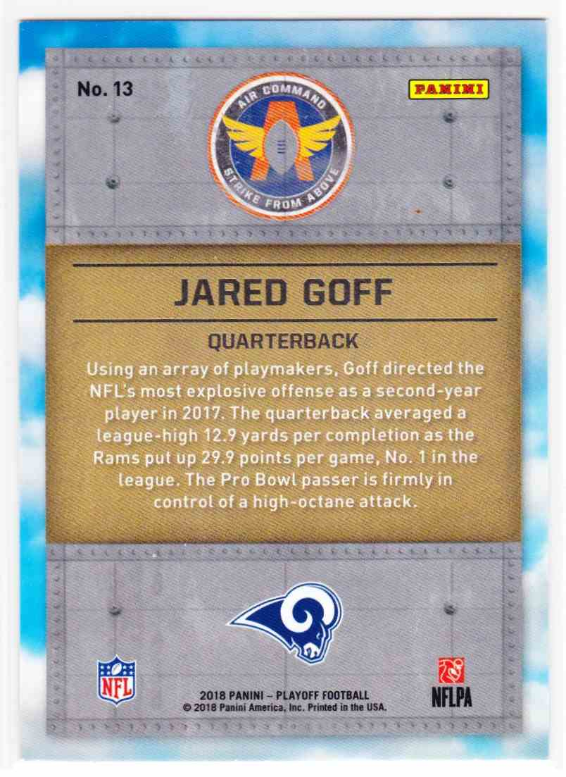 2018 Playoff Air Command Jared Goff #13 card back image