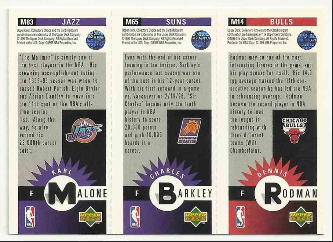 1996-97 Collector's Choice Mini-Cards Dennis Rodman/Charles Barkley/Karl Malone #M-83 card back image