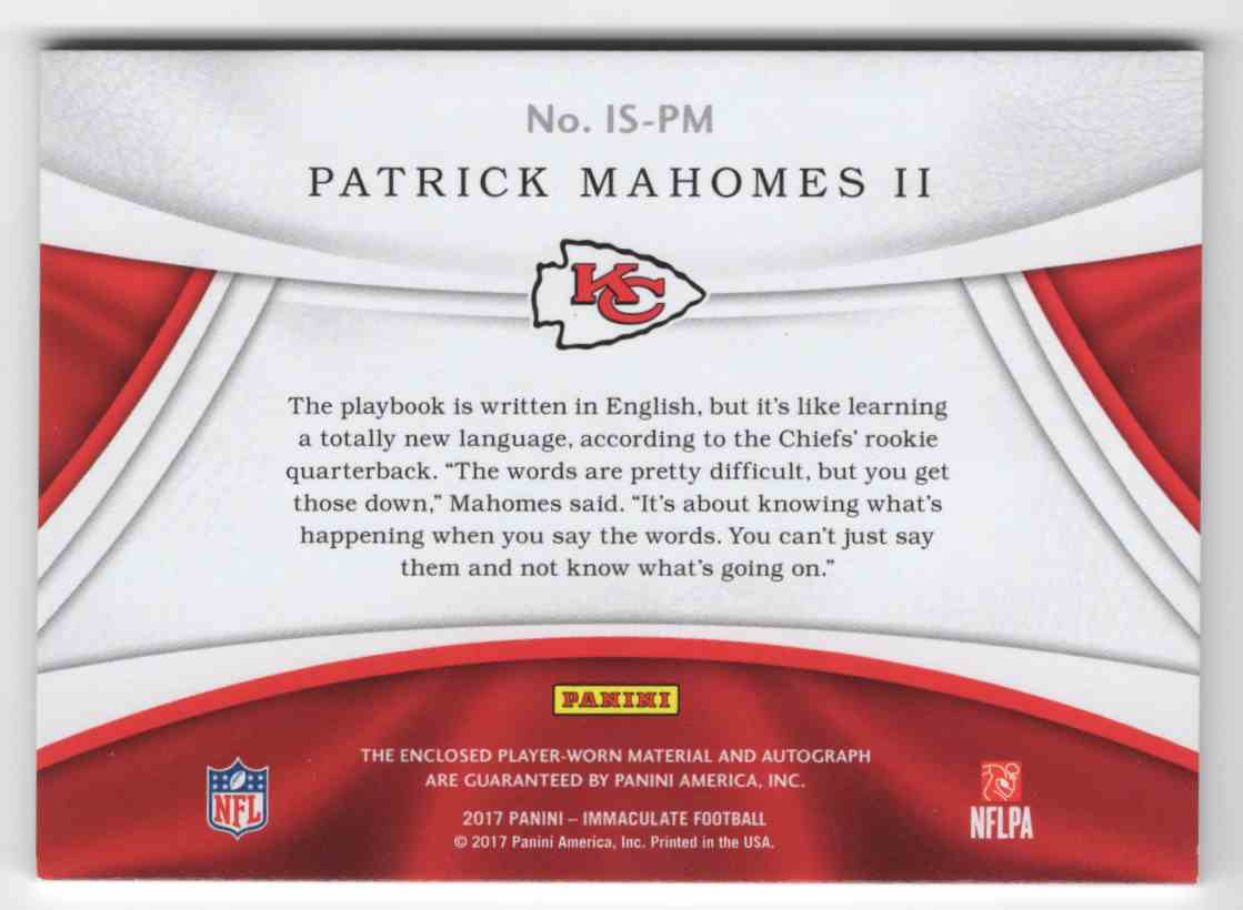 bc8004714 Real card back image 2017 Panini Immaculate Rookie Patches Autographs  Patrick Mahomes II  IS-PM card back