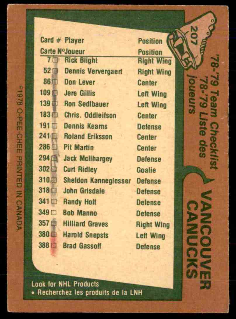 1978-79 O-Pee-Chee Vancouver Canucks Checklist #207 card back image