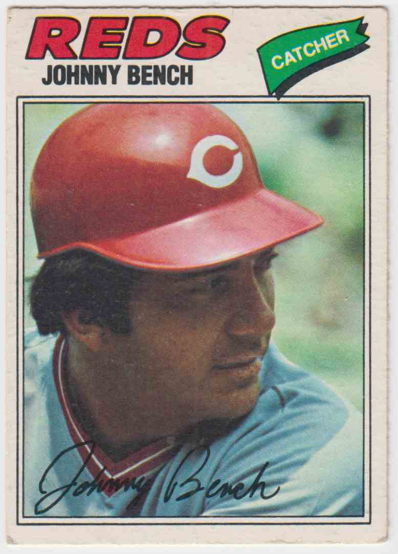 1977 O-Pee-Chee Johnny Bench #100 card front image