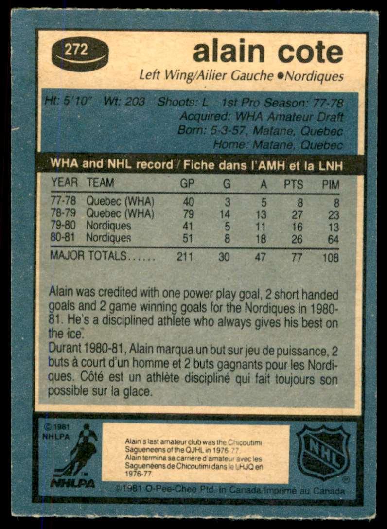 1981-82 OPC Alain Cote #272 card back image