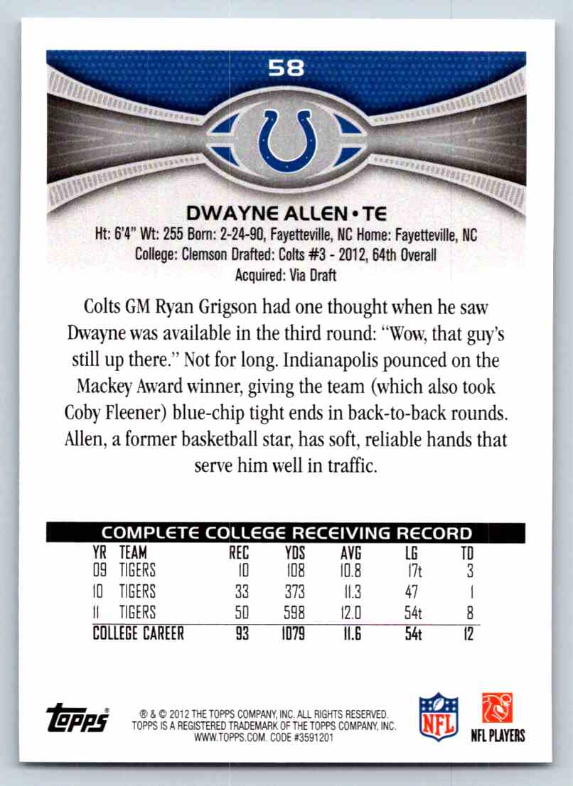 2012 Topps Dwayne Allen #58 card back image