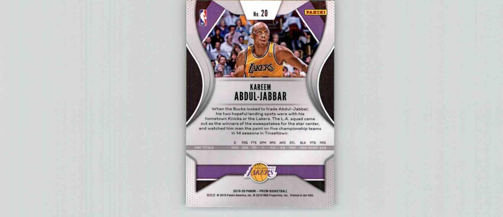 2019-20 Panini Prizm Basketball Prizm Kareem Abdul-Jabbar #20 card back image