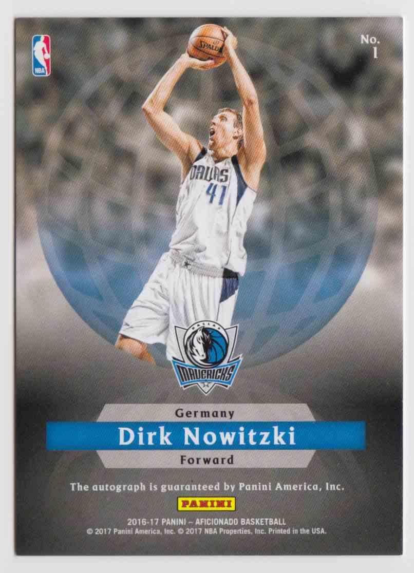 2016-17 Panini Aficionado International Ink Artist's Proof Dirk Nowitzki #1 card back image