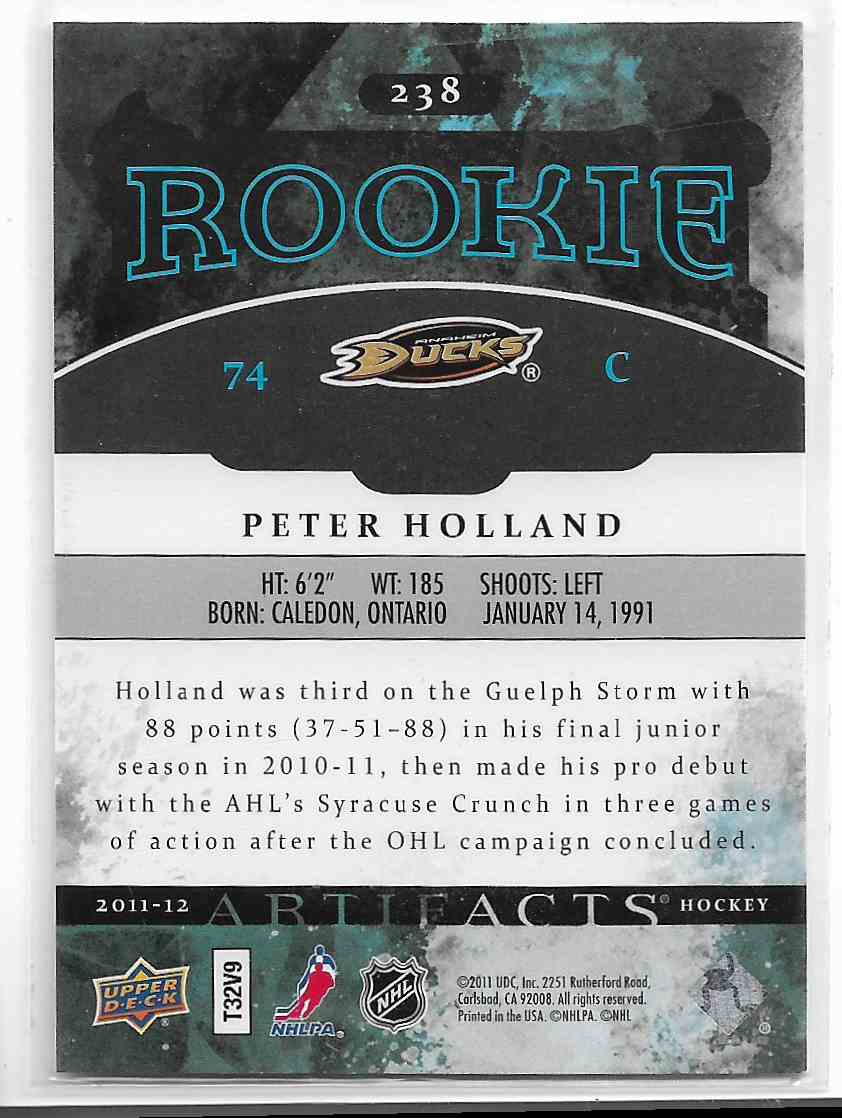 2011-12 Upper Deck Artifacts Peter Holland #238 card back image