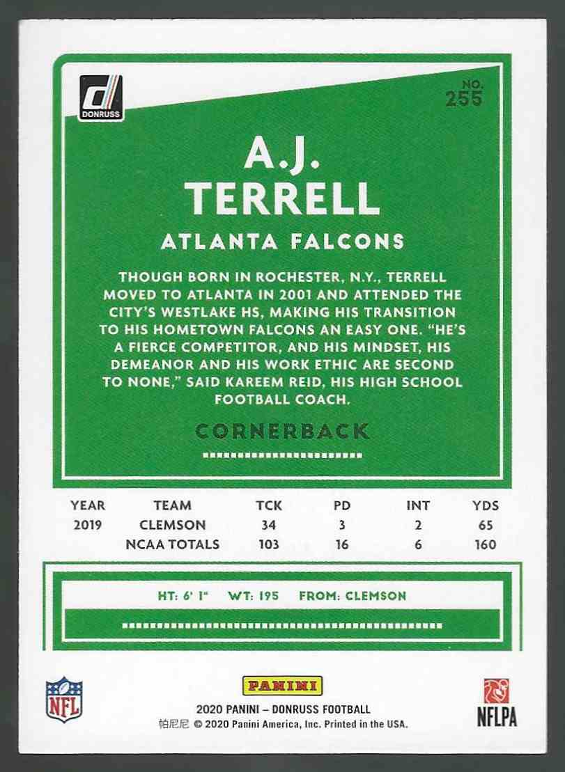 2020 Panini Base A.J. Terrell #255 card back image