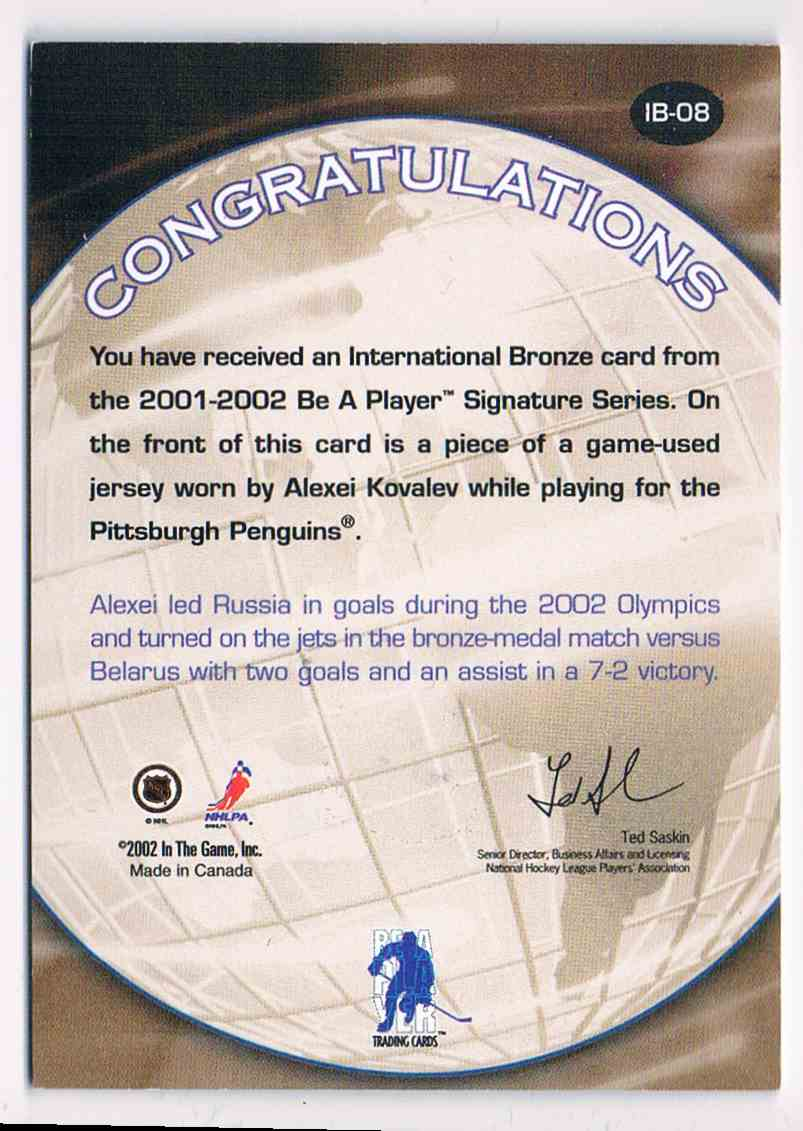2001-02 ITG In The Game Be A Player Signature Series Vault 1 Of 1 International Alexei Kovalev #IB-08 card back image