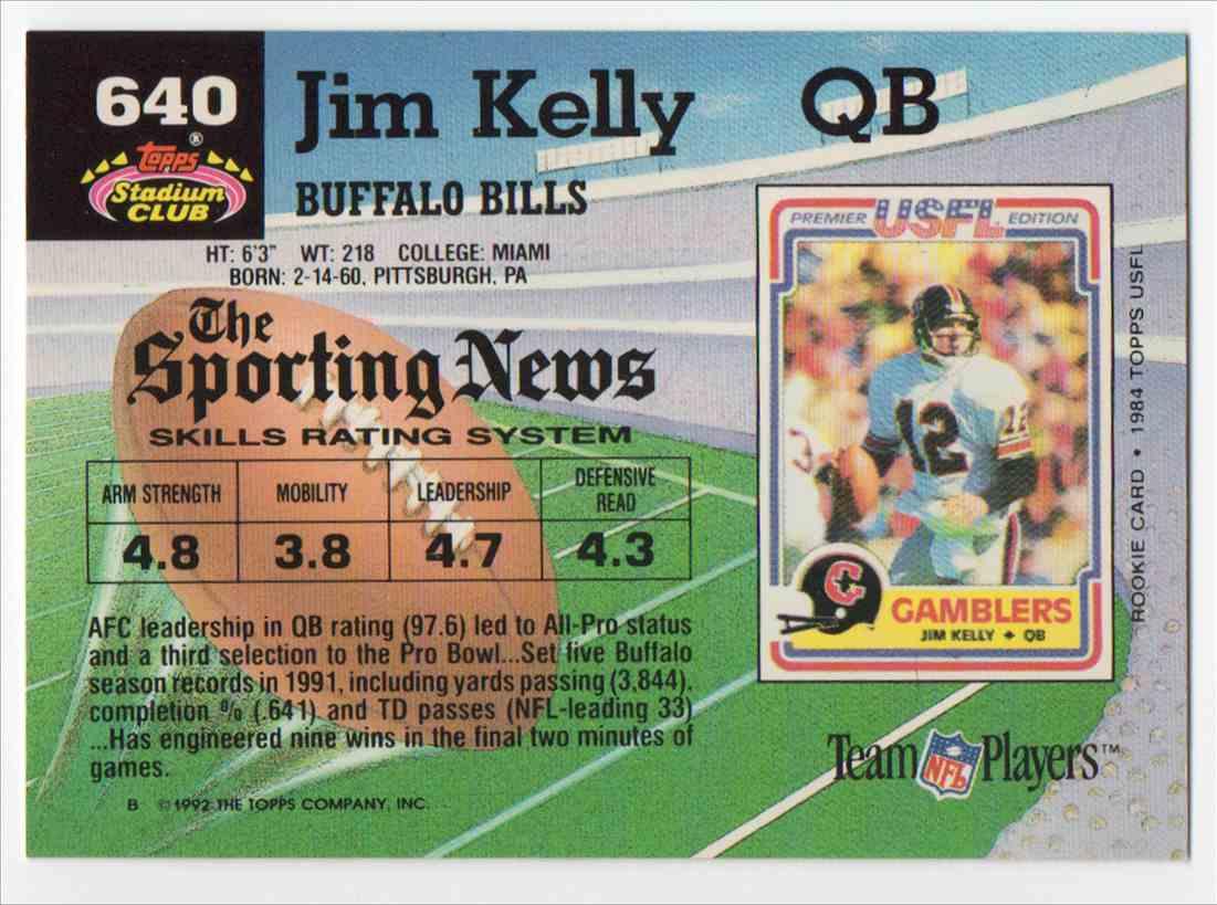 1992 Stadium Club Jim Kelly #640 card back image