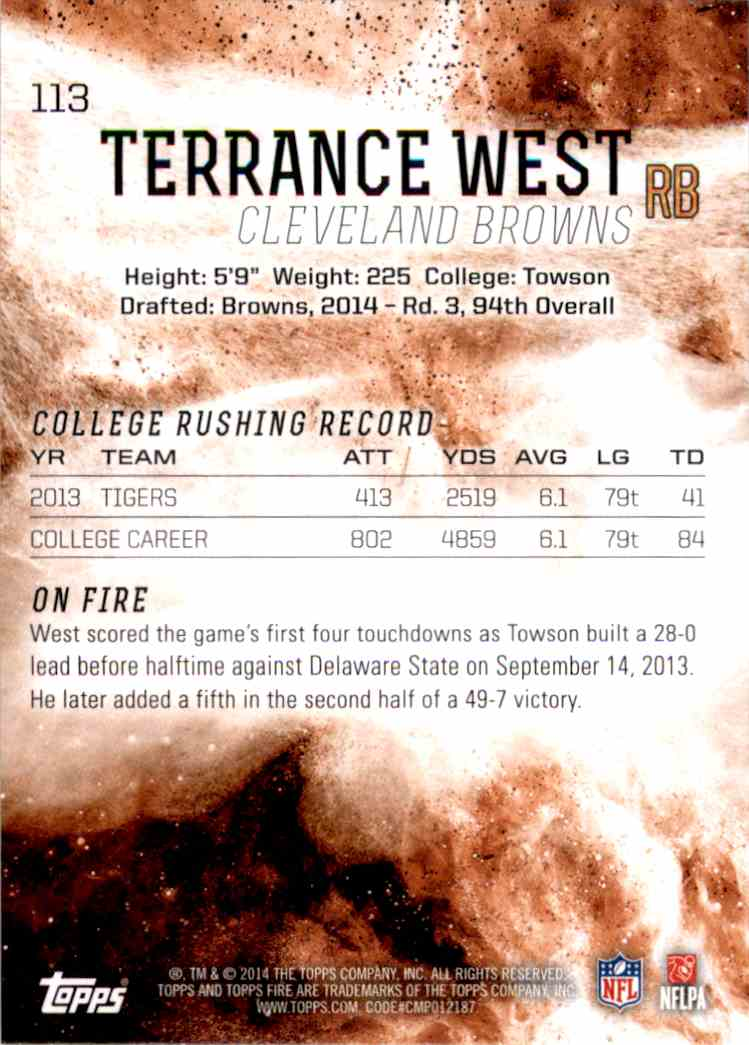2014 Topps Fire Terrance West RC #113 card back image
