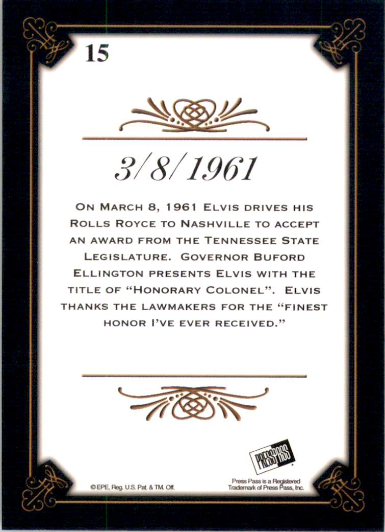 2008 Elvis By The Numbers 3/8/1961 #15 card back image
