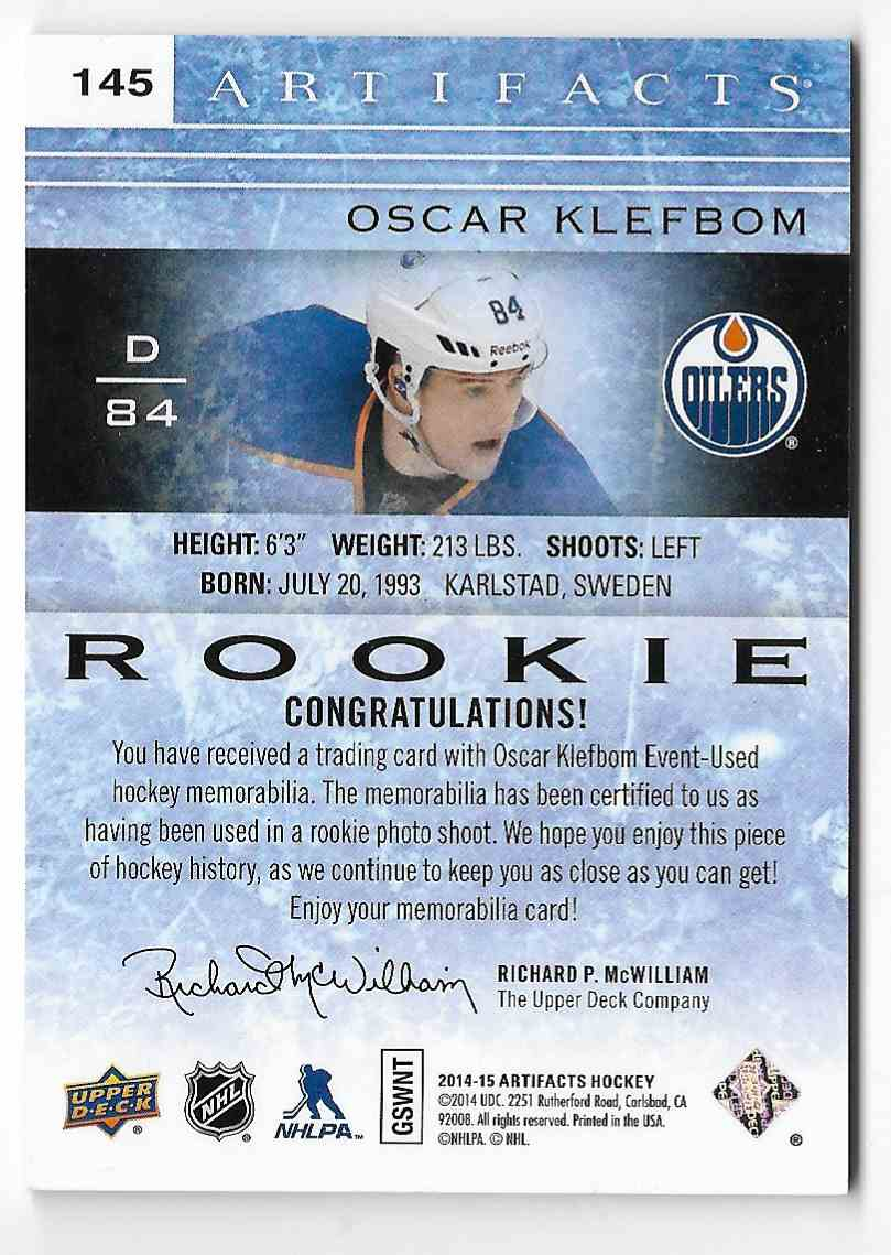 2014-15 Upper Deck Artifacts Oscar Klefbom #145 card back image