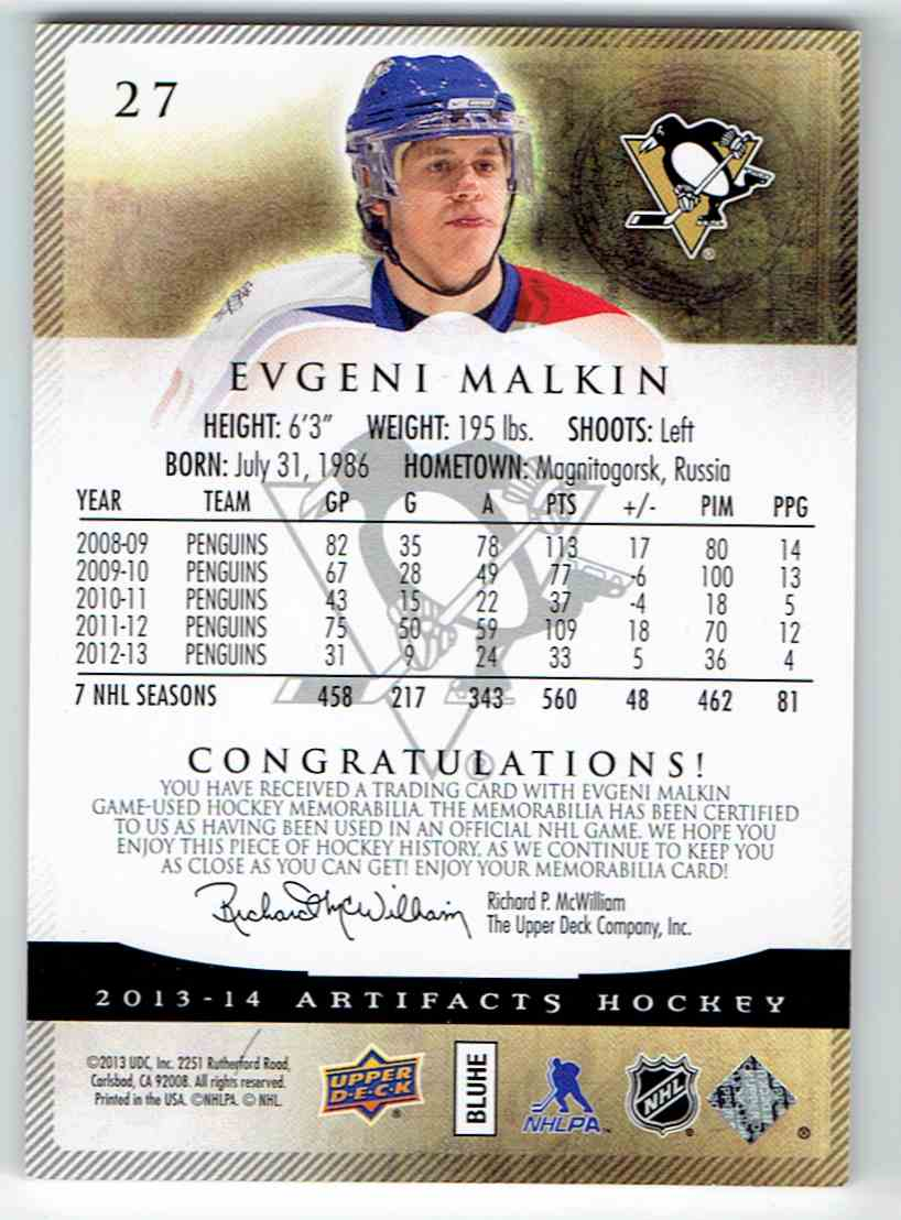 2013-14 Upper Deck Artifacts Evgeni Malkin #27 card back image