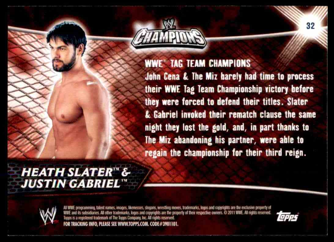2011 Topps Wwe Champions Heath Slater/Justin Gabriel #32 card back image
