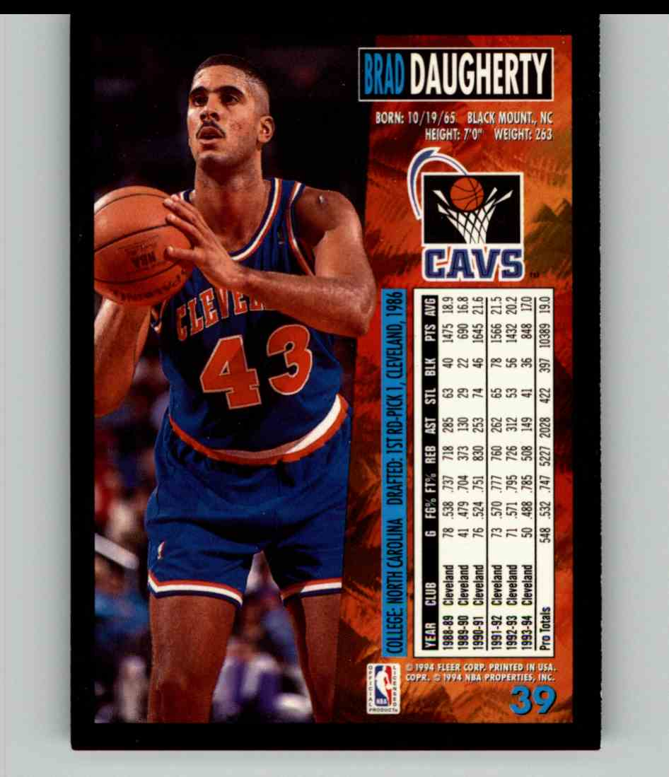 1994-95 Fleer Brad Daugherty #39 card back image
