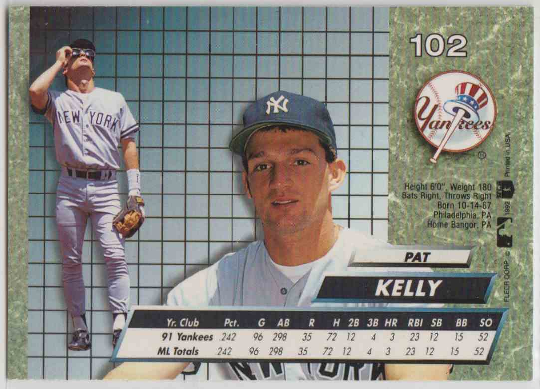 1992 Fleer Ultra Pat Kelly #102 card back image