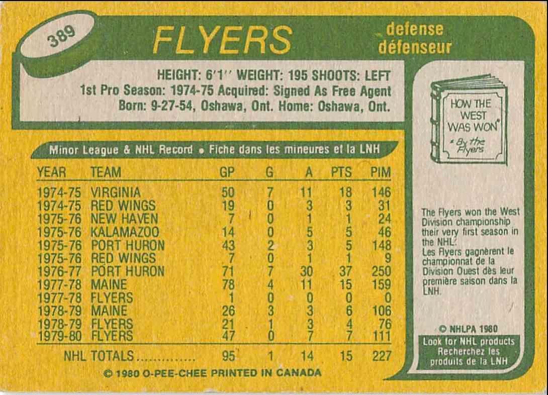 1980-81 O-Pee-Chee Frank Bathe #389 card back image