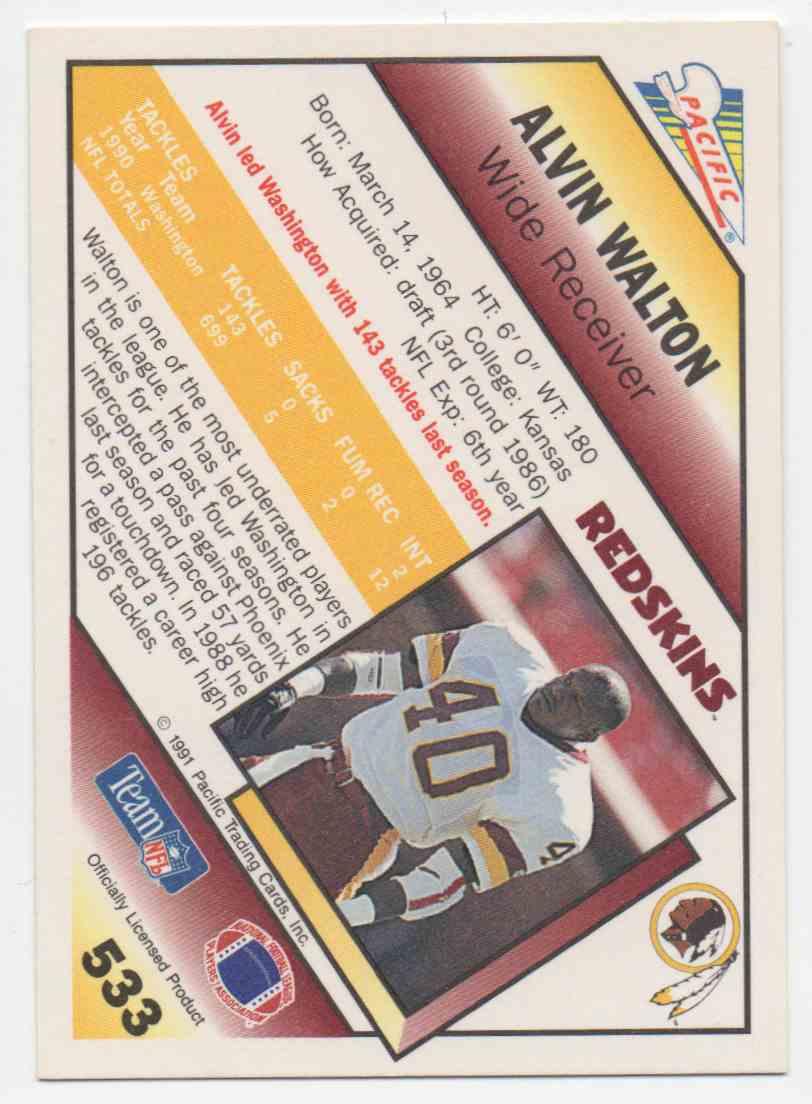 1991 Pacific Alvin Walton #533 card back image