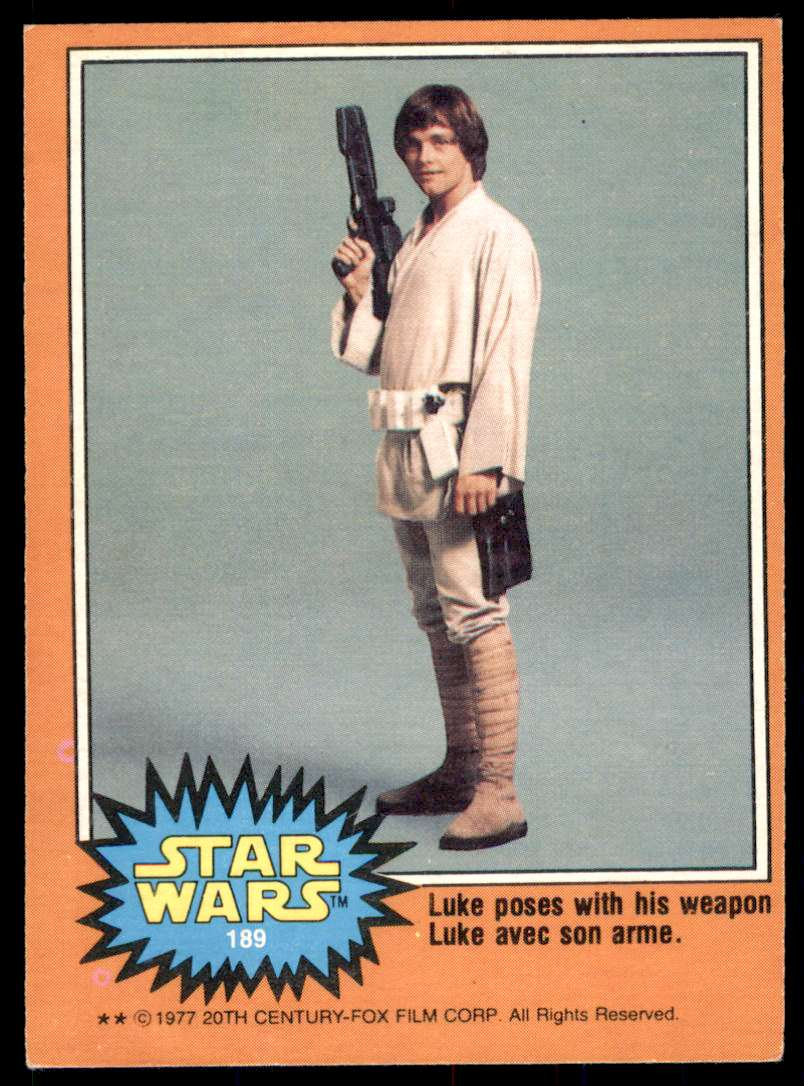1977 Topps Star Wars Luke Poses With His Weapon #189 card front image
