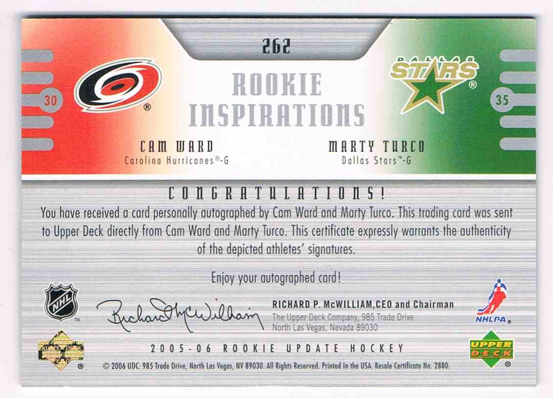 2005-06 Upper Deck Rookie Update Inspirations Dual Auto Cam Ward Marty Turco #262 card back image