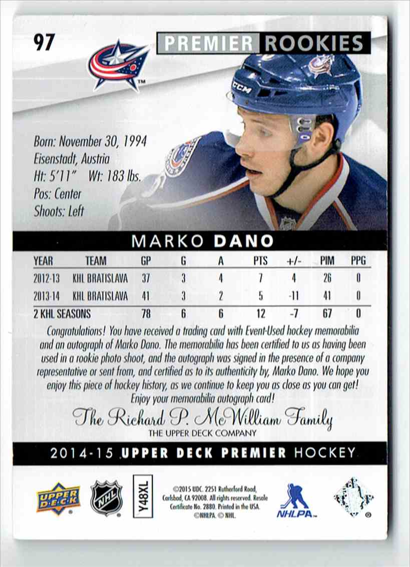 2014-15 Upper Deck Premier Rookies Patch Auto Marko Dano #97 card back image