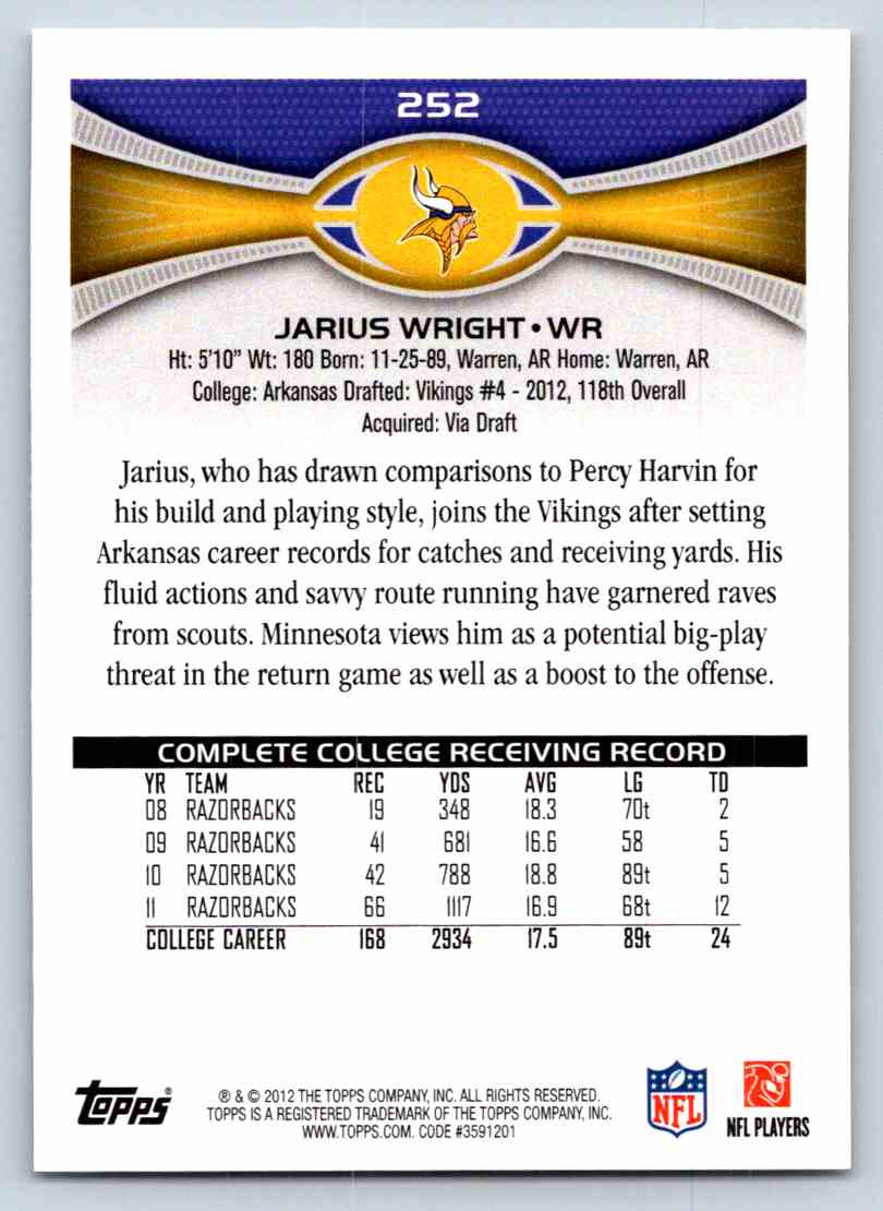 2012 Topps Jarius Wright #252 card back image