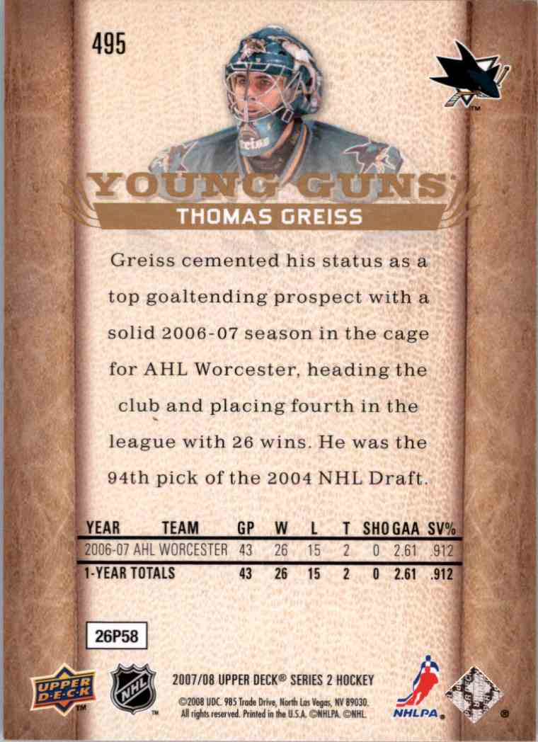 2007-08 Upper Deck Young Guns Yg Thomas Greiss #495 card back image